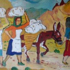Arte: LAS LAVANDERAS EN ANDALUCÍA ORIENTAL, ÓLEO MADERA 60X80 CM. DE CRESPO. Lote 51380765