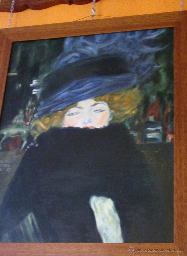 MUJER CON SOMBRERO, ÓLEO , POR RUTH CABAL, ORIGINAL DE GUSTAV KLIMT (Arte - Pintura - Pintura al Óleo Contemporánea )