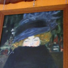 Arte: MUJER CON SOMBRERO, ÓLEO , POR RUTH CABAL, ORIGINAL DE GUSTAV KLIMT . Lote 51545665