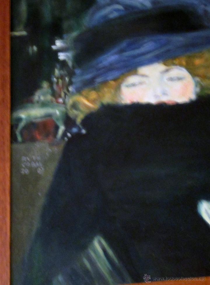 Arte: MUJER CON SOMBRERO, ÓLEO , POR RUTH CABAL, ORIGINAL DE GUSTAV KLIMT - Foto 2 - 51545665