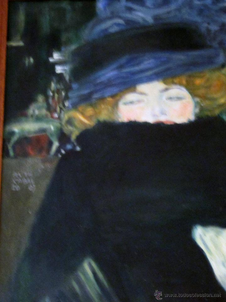 Arte: MUJER CON SOMBRERO, ÓLEO , POR RUTH CABAL, ORIGINAL DE GUSTAV KLIMT - Foto 3 - 51545665