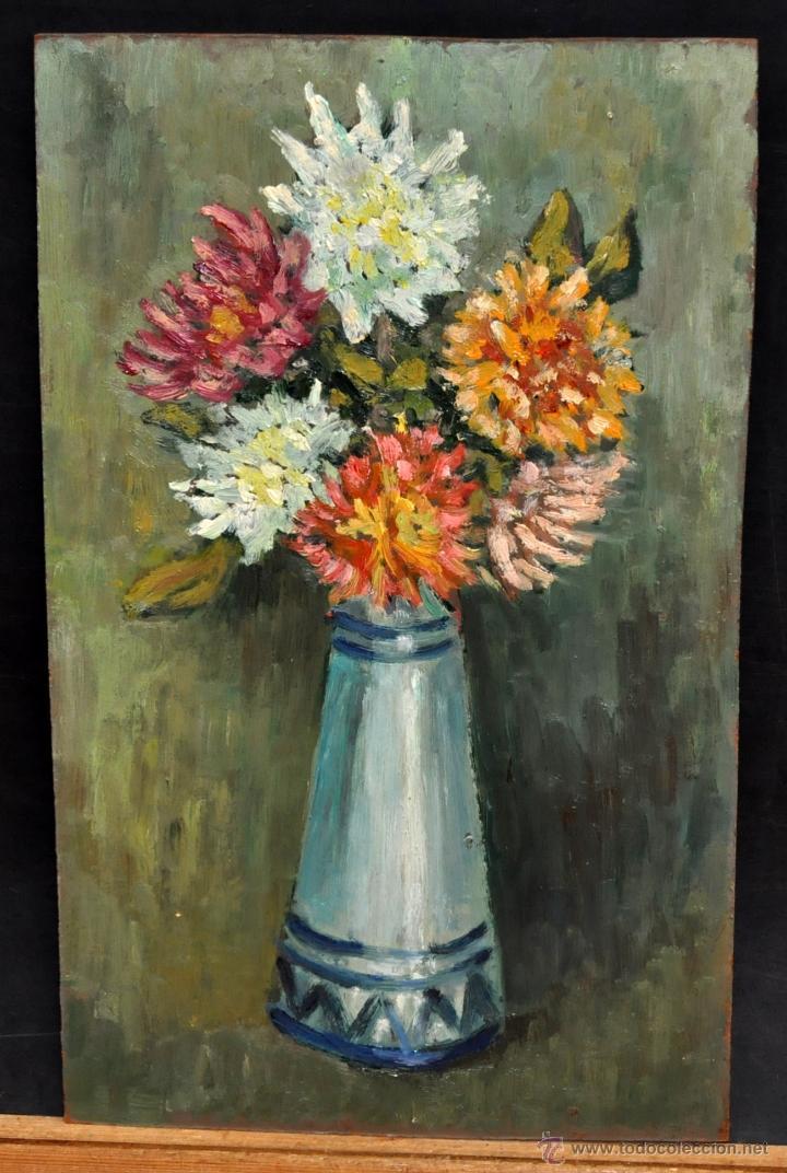 ANÓNIMO DE LOS AÑOS 50. FLORERO. OLEO SOBRE TABLEX (Arte - Pintura - Pintura al Óleo Contemporánea )