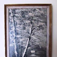 Arte: PAISAJE RIBEREÑO EN BLANCOS, NEGROS Y GRISES.OLEO SOBRE TELA LINO Y ALGODON MARCO ORIGINAL.AÑOS '60. Lote 51615334
