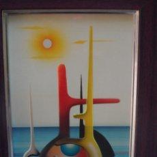 Arte: DISEÑO CUADRO PINTURA LACA FIRMADO VAUI 79 DISEÑO VINTAGE MUY COLORIDO. Lote 51623453