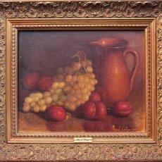 Kunst - OLEO SOBRE LIENZO BODEGON UVAS, FIRMADO MANUEL ORTEGA 1985 - 51670733