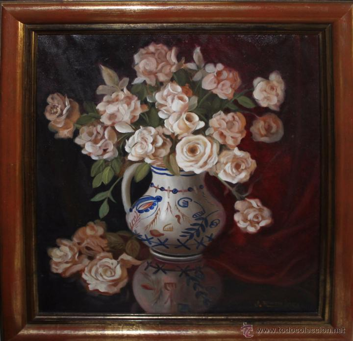 JOSE ROSALES AROTEGUI (1924) - BODEGÓN DE ROSAS - OLEO / LIENZO (Arte - Pintura - Pintura al Óleo Contemporánea )