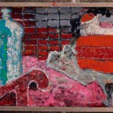 Arte: JORDI FREIXAS CORTÉS, ÓLEO SOBRE LIENZO, 1970'S. BODEGÓN PLANO MARCO: 40X95 CM. VER PARTE TRASERA.. Lote 51703594