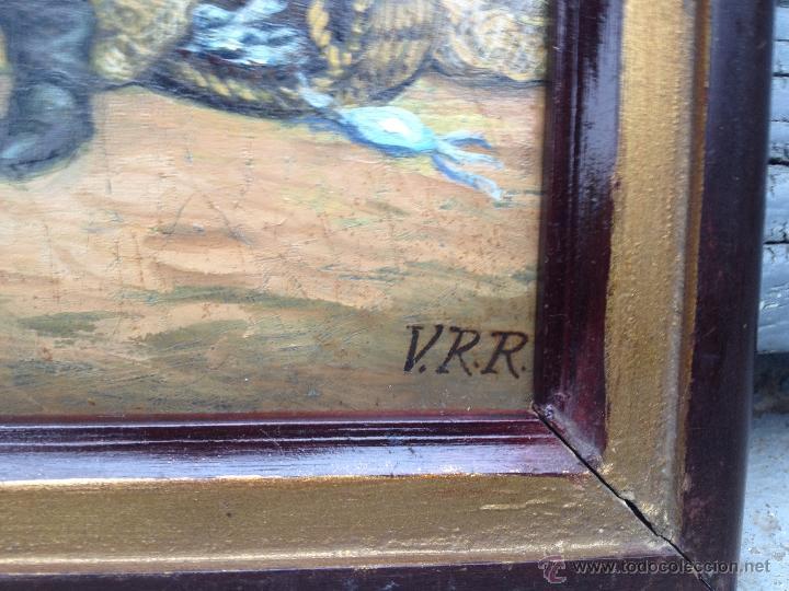 Arte: Firmado VRR - Español (XIX-XX) - Óleo sobre madera - Pescador - Foto 3 - 51720069