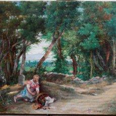 Arte: ANTONI DE FERRER, NIÑA EN EL BOSQUE. ÓLEO SOBRE LIENZO 45X61 CM.. Lote 51974043