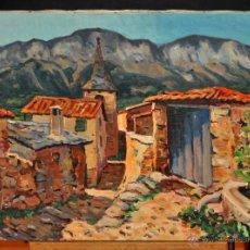 Arte: ESCUELA CATALANA DE LOS AÑOS 50-60. OLEO SOBRE TELA. VISTA DE UN PUEBLO. Lote 52139647