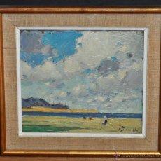 Arte: JOAQUIM TERRUELLA Y MARINA (1891-1957) OLEO SOBRE TABLA. PLAYA DE LLANÇÀ (GIRONA). Lote 52158245