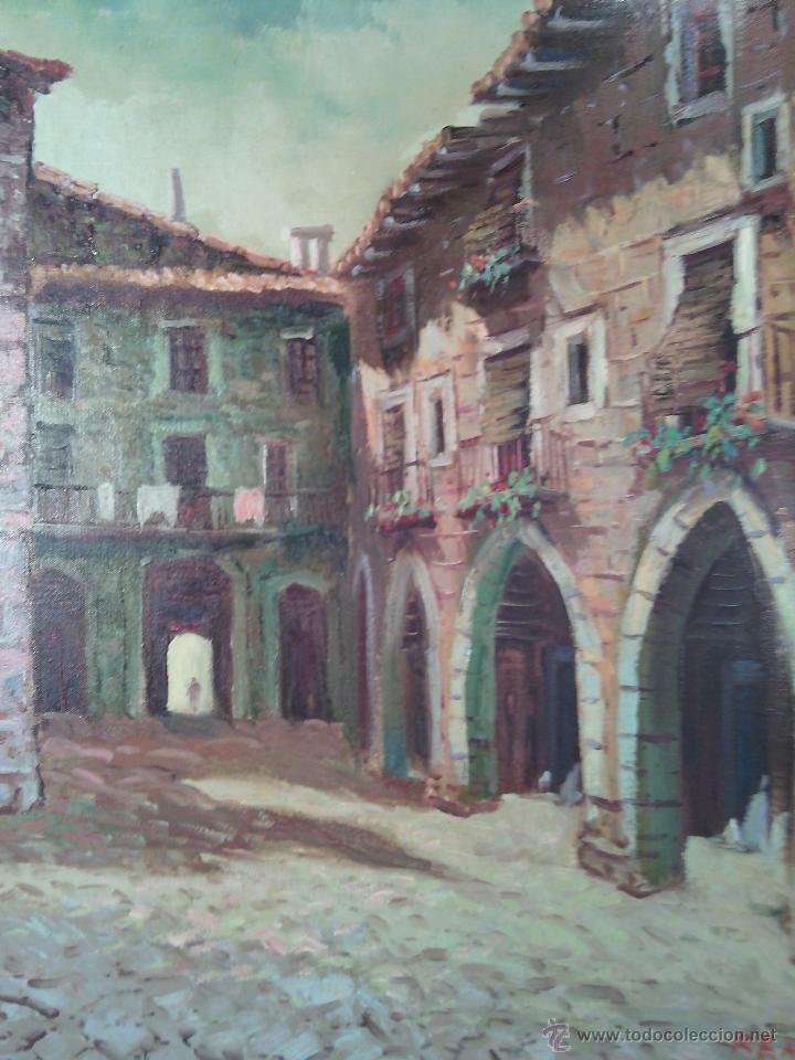 Arte: RICARDO REX (BARCELONA 1935). ÓLEO. RINCÓN DE PUEBLO. - Foto 2 - 52389528