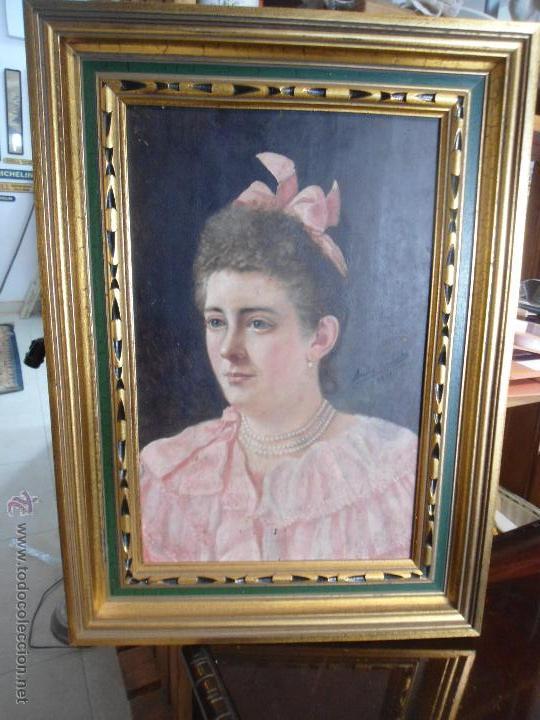 BONITO CUADRO RETRATO MUJER SIN FIRMA, OLEO SOBRE TABLA (Arte - Pintura - Pintura al Óleo Moderna siglo XIX)