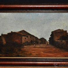 Arte: RICARD URGELL CARRERAS (BARCELONA, 1874 - 1924) OLEO SOBRE CARTÓN DURO. PAISAJE RURAL CON CAMPESINA. Lote 52506287