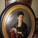 Arte: ANTIGUO OLEO SOBRE LIENZO - RETRATO DE DAMA DE LA EPOCA - FIRMADO Y FECHADO J.GONZALEZ 1878. Lote 52539630