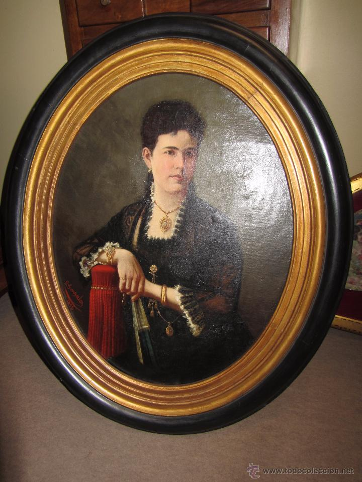Arte: Antiguo Oleo Sobre Lienzo - Retrato de Dama de la Epoca - Firmado y Fechado J.Gonzalez 1878 - Foto 2 - 52539630