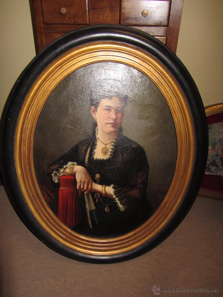 Arte: Antiguo Oleo Sobre Lienzo - Retrato de Dama de la Epoca - Firmado y Fechado J.Gonzalez 1878 - Foto 3 - 52539630