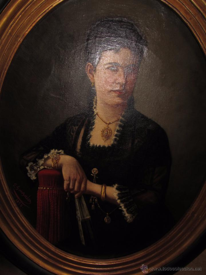 Arte: Antiguo Oleo Sobre Lienzo - Retrato de Dama de la Epoca - Firmado y Fechado J.Gonzalez 1878 - Foto 4 - 52539630