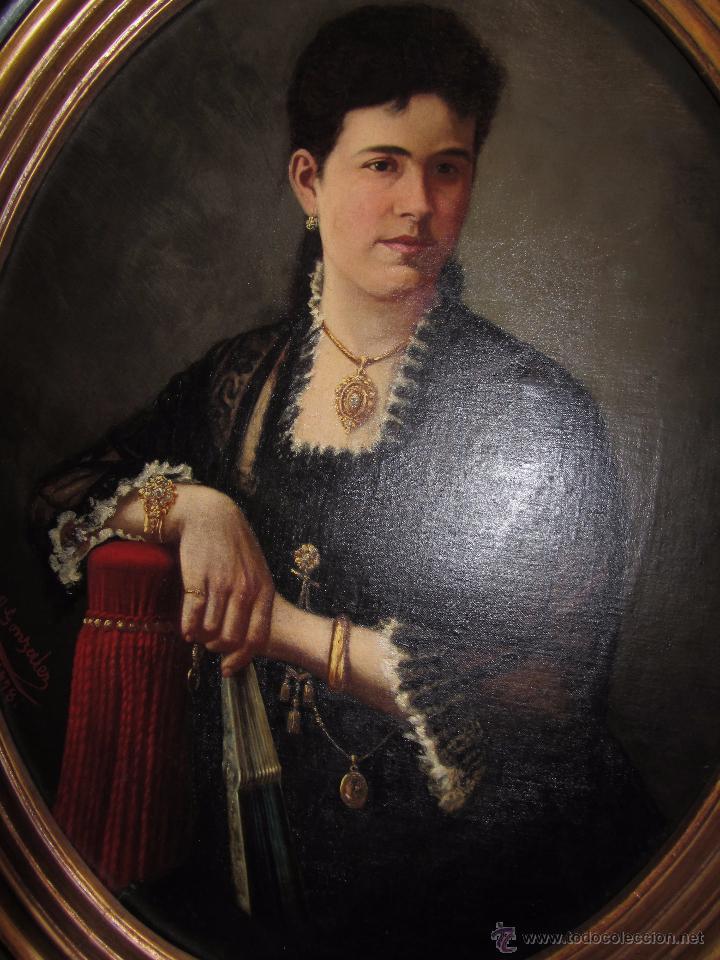Arte: Antiguo Oleo Sobre Lienzo - Retrato de Dama de la Epoca - Firmado y Fechado J.Gonzalez 1878 - Foto 5 - 52539630