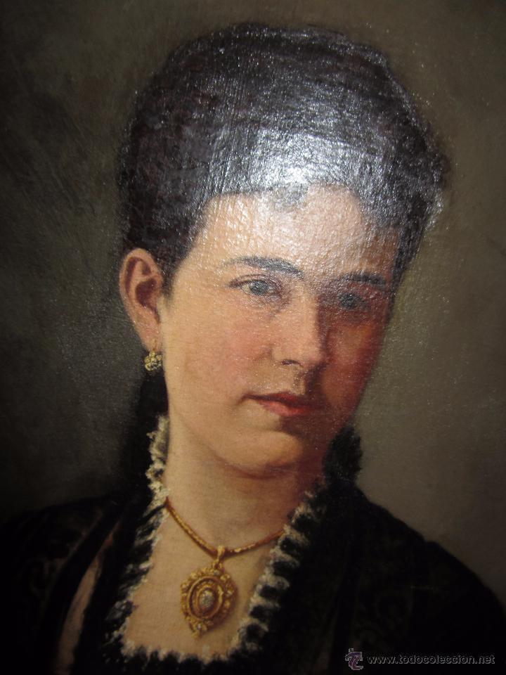 Arte: Antiguo Oleo Sobre Lienzo - Retrato de Dama de la Epoca - Firmado y Fechado J.Gonzalez 1878 - Foto 6 - 52539630
