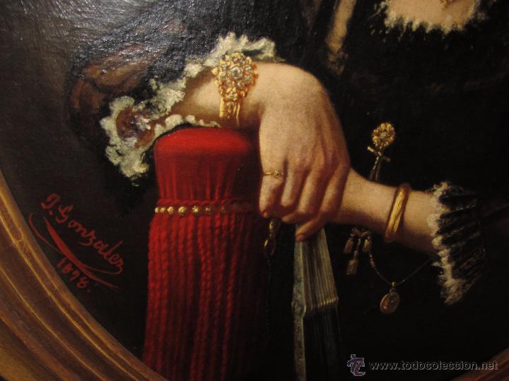 Arte: Antiguo Oleo Sobre Lienzo - Retrato de Dama de la Epoca - Firmado y Fechado J.Gonzalez 1878 - Foto 7 - 52539630