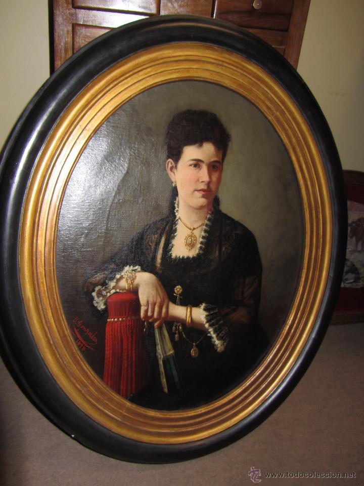 Arte: Antiguo Oleo Sobre Lienzo - Retrato de Dama de la Epoca - Firmado y Fechado J.Gonzalez 1878 - Foto 9 - 52539630