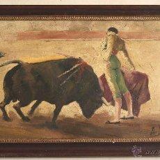 Arte: ANTONIO LOPEZ TORRES, -ESCENA TAURINA-, OLEO SOBRE TABLA.. Lote 52543079