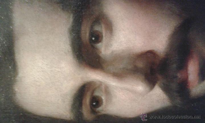Arte: Oleo sobre lienzo. Caballero. No esta firmado, Muy bien pintado. Siglo XVIII ? marco de 40 x 50 cm - Foto 2 - 52556199