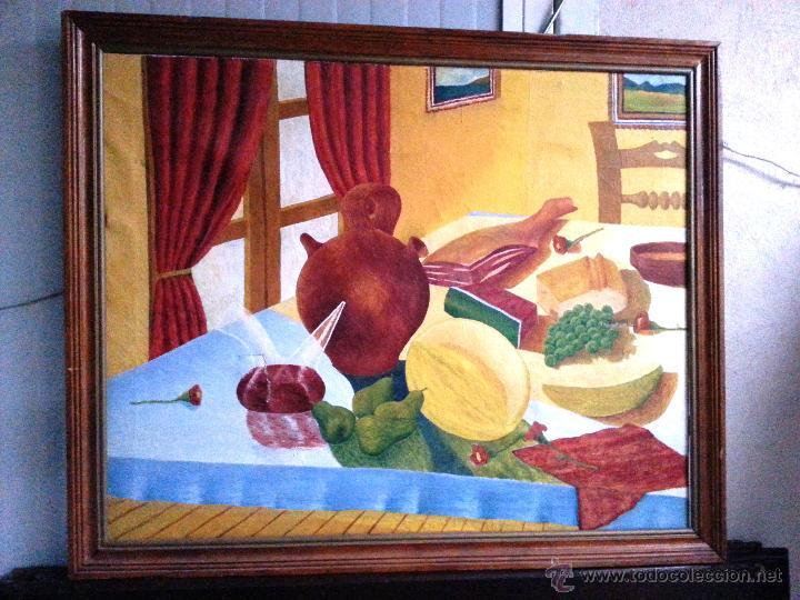 BODEGÓN GRANDE EN OLEO SOBRE LIENZO A LA MANERA NAIF, ENMARCADO. NECESITA PARCHE (Arte - Pintura - Pintura al Óleo Contemporánea )