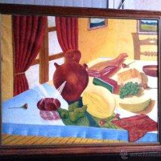 Arte: BODEGÓN GRANDE EN OLEO SOBRE LIENZO A LA MANERA NAIF, ENMARCADO. NECESITA PARCHE. Lote 54490192