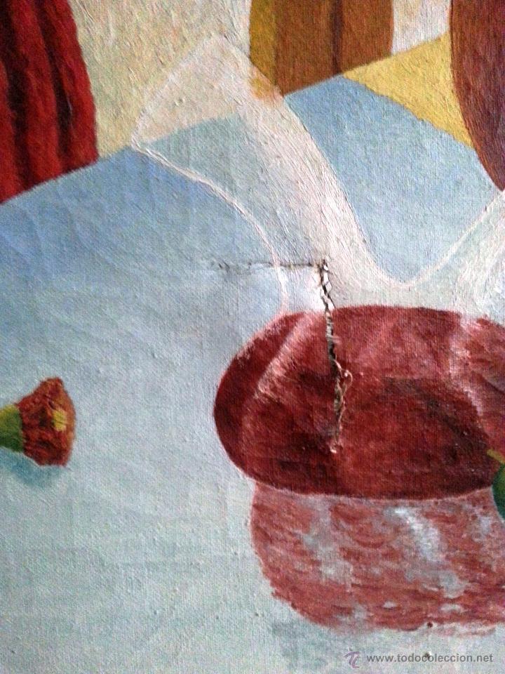 Arte: BODEGÓN GRANDE EN OLEO SOBRE LIENZO A LA MANERA NAIF, ENMARCADO. NECESITA PARCHE - Foto 5 - 54490192