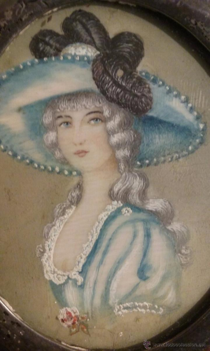 Arte: OLEO SOBRE MARFIL, MARCO PLATA, RETRATO DE DAMA MINIATURA, SIGLO XVIII, 1781, FIRMADO LELÈTRE - Foto 3 - 52600583