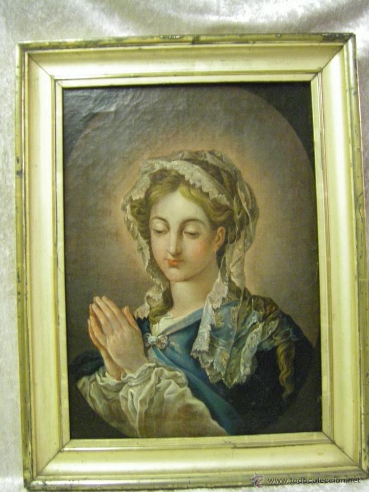 ÓLEO DE MUJER IMITANDO A LA INMACULADA CONCEPCIÓN, POSIBLEMENTE ESCUELA VALENCIANA SIGLO XVIII (Arte - Pintura - Pintura al Óleo Antigua siglo XVIII)