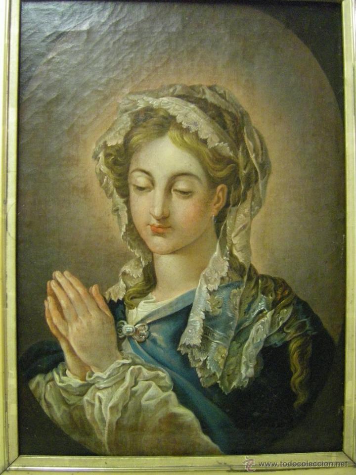 Arte: óleo de mujer imitando a la Inmaculada Concepción, posiblemente escuela valenciana siglo XVIII - Foto 2 - 52666529