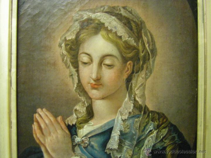 Arte: óleo de mujer imitando a la Inmaculada Concepción, posiblemente escuela valenciana siglo XVIII - Foto 3 - 52666529