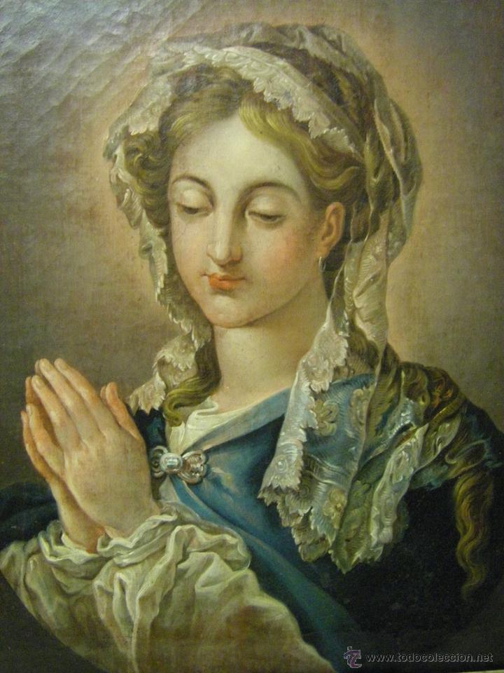 Arte: óleo de mujer imitando a la Inmaculada Concepción, posiblemente escuela valenciana siglo XVIII - Foto 4 - 52666529
