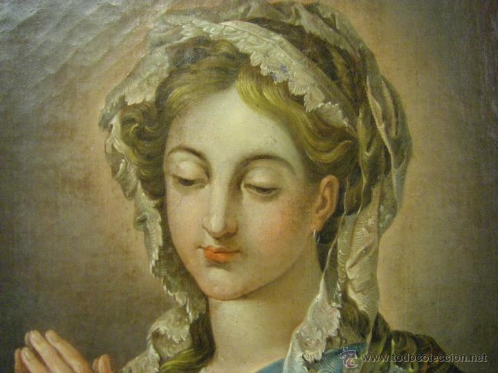 Arte: óleo de mujer imitando a la Inmaculada Concepción, posiblemente escuela valenciana siglo XVIII - Foto 5 - 52666529