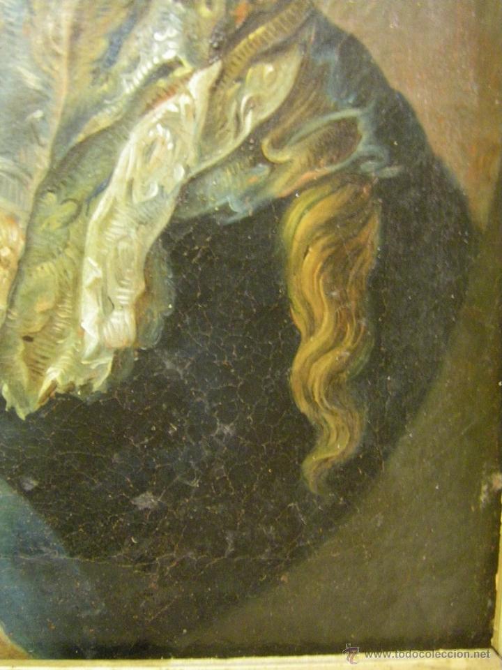 Arte: óleo de mujer imitando a la Inmaculada Concepción, posiblemente escuela valenciana siglo XVIII - Foto 6 - 52666529