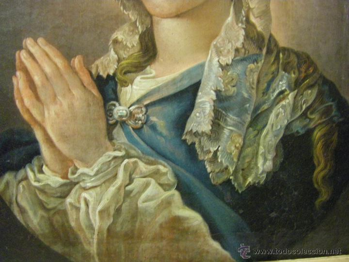 Arte: óleo de mujer imitando a la Inmaculada Concepción, posiblemente escuela valenciana siglo XVIII - Foto 7 - 52666529