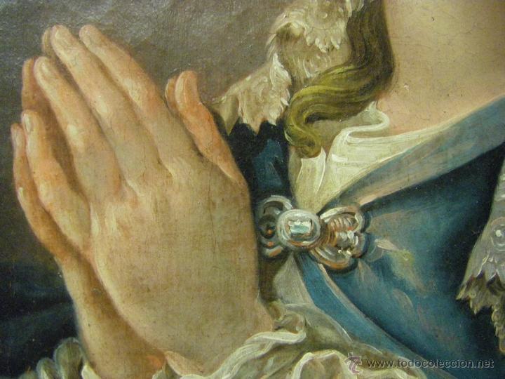 Arte: óleo de mujer imitando a la Inmaculada Concepción, posiblemente escuela valenciana siglo XVIII - Foto 8 - 52666529