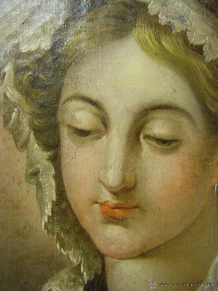 Arte: óleo de mujer imitando a la Inmaculada Concepción, posiblemente escuela valenciana siglo XVIII - Foto 9 - 52666529
