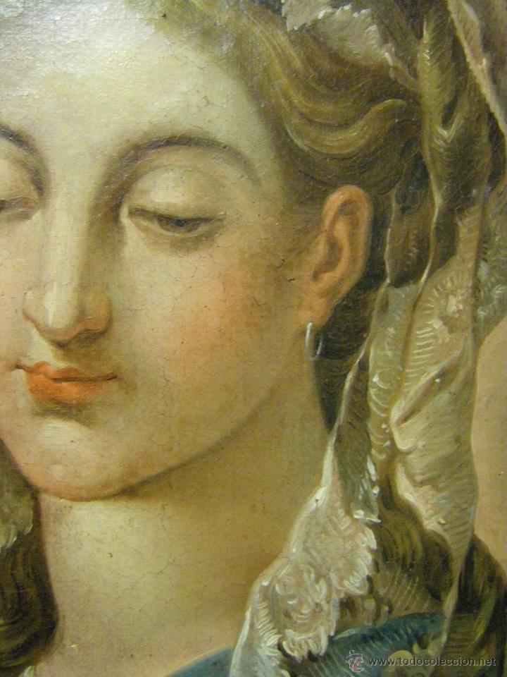 Arte: óleo de mujer imitando a la Inmaculada Concepción, posiblemente escuela valenciana siglo XVIII - Foto 10 - 52666529