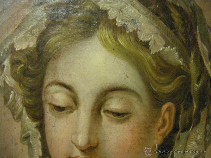 Arte: óleo de mujer imitando a la Inmaculada Concepción, posiblemente escuela valenciana siglo XVIII - Foto 11 - 52666529