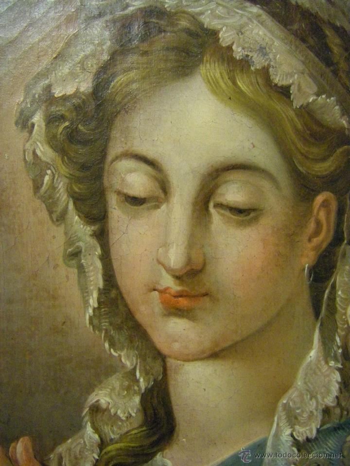 Arte: óleo de mujer imitando a la Inmaculada Concepción, posiblemente escuela valenciana siglo XVIII - Foto 13 - 52666529