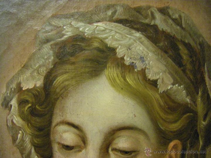 Arte: óleo de mujer imitando a la Inmaculada Concepción, posiblemente escuela valenciana siglo XVIII - Foto 14 - 52666529
