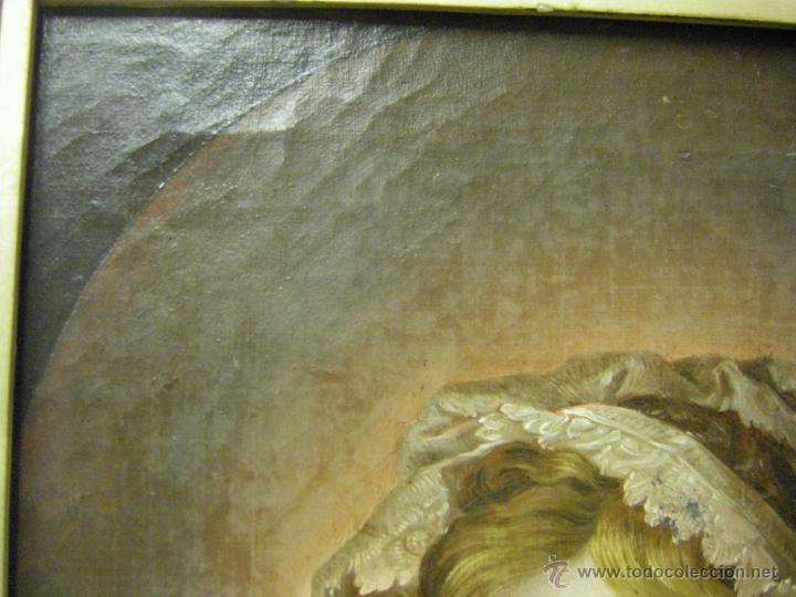 Arte: óleo de mujer imitando a la Inmaculada Concepción, posiblemente escuela valenciana siglo XVIII - Foto 16 - 52666529