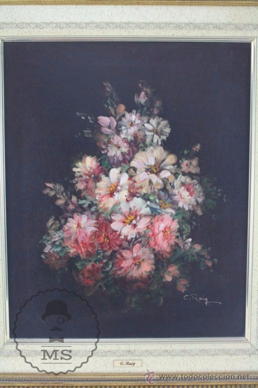 Arte: Pintura Óleo Sobre Lienzo - Bodegón con Flores Firmado C. Roig - Segunda Mitad Siglo XX - 66 x 58 Cm - Foto 2 - 52710038