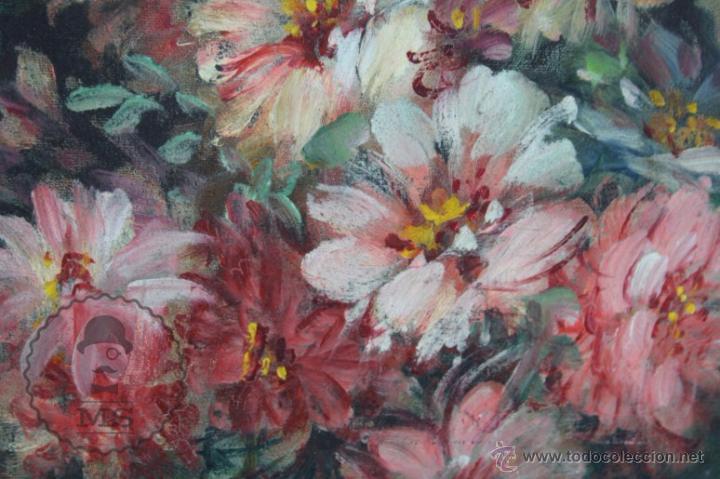 Arte: Pintura Óleo Sobre Lienzo - Bodegón con Flores Firmado C. Roig - Segunda Mitad Siglo XX - 66 x 58 Cm - Foto 3 - 52710038