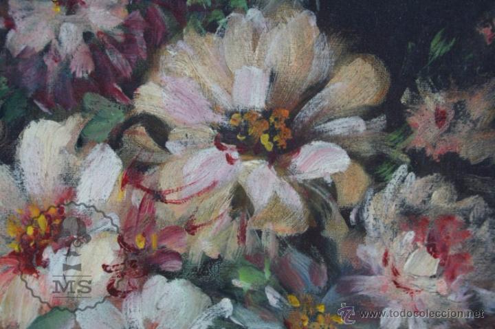 Arte: Pintura Óleo Sobre Lienzo - Bodegón con Flores Firmado C. Roig - Segunda Mitad Siglo XX - 66 x 58 Cm - Foto 4 - 52710038