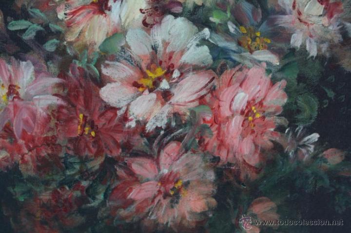 Arte: Pintura Óleo Sobre Lienzo - Bodegón con Flores Firmado C. Roig - Segunda Mitad Siglo XX - 66 x 58 Cm - Foto 6 - 52710038